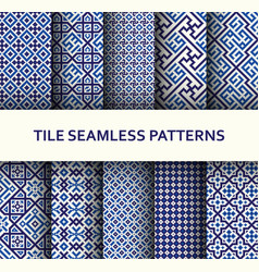 Mosaic seamless patterns set modern geometric vector