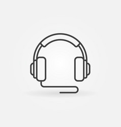 over-ear wired headphones icon in thin line vector image