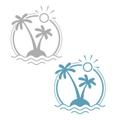 palm at tropical island vector image