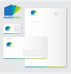 Paper mill logo factory identity vector