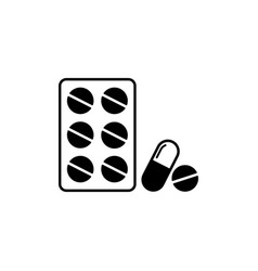 Pill capsule icon tablets antibiotic vitamins vector
