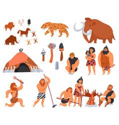Primitive men cartoon icons set vector