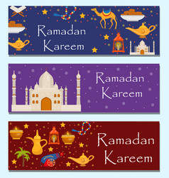 ramadan kareem banners set with arabic design vector image
