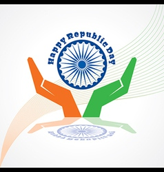 Republic Day greeting with hand vector