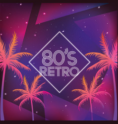 Retro neon galaxy with palms background vector