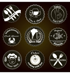 Retro restaurant menu badges vector image