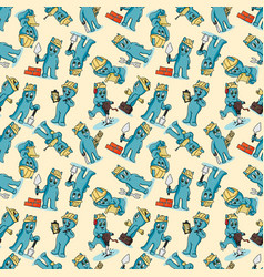 Seamless pattern doodle funny little men in the vector