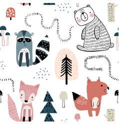 Semless woodland pattern with cute characters and vector