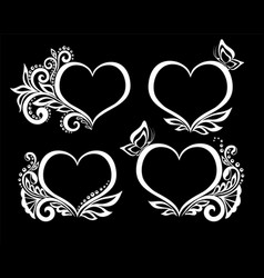 set beautiful black-and-white symbol vector image