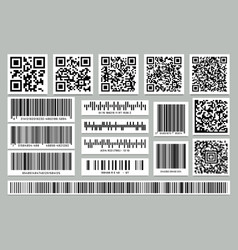set isolated rectangle barcode square qr code vector image