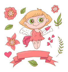 set of cute cartoon angels for valentine s day vector image