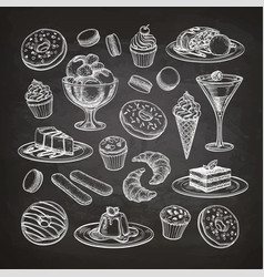 set of dessert on chalkboard vector image