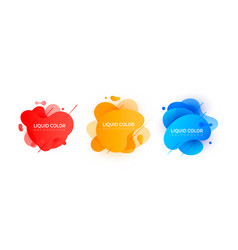 set of graphic liquid color elements vector image
