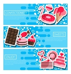 Set of Horizontal Banners about confectionery vector image
