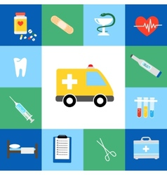 Set of medical flat icons vector image
