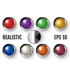 set of realistic colored buttons with metallic vector image