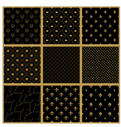 set of seamless gold patterns luxury vector image