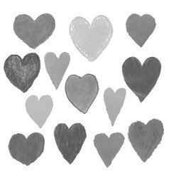 set with gray heart shape drawn vector image