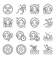 skin care icons set vector image