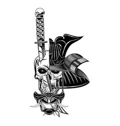 Skull samurai 0004 vector