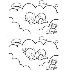 Sleeping baby in diapers line art vector