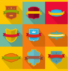 stamp icons set flat style vector image