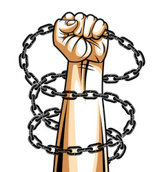Strong hand clenched fist fighting for freedom vector