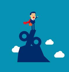 Super businessman standing on top vector