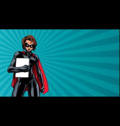 Superheroine holding book ray light vector
