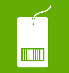 tag with bar code icon green vector image