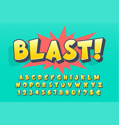 Trendy 3d comical font design colorful alphabet vector