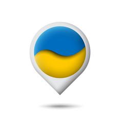 Ukraine flag icon in shape pointer map vector