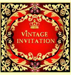 vintage background invitation with gold ornaments vector image