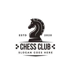 Vintage classic badge emblem chess logo vector