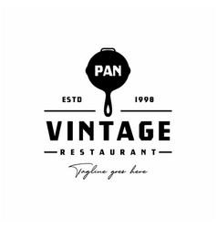 Vintage retro frying pan logo design inspiration vector