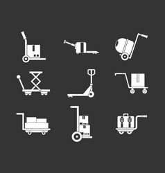 wharehouse cart icon set grey vector image