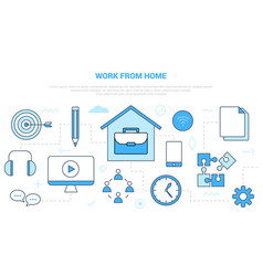 Work from home wfh concept with icon set template vector