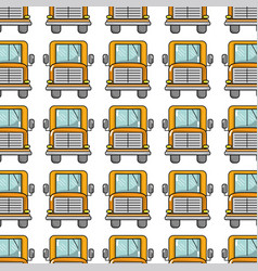 Yellow school bus to children transportation vector