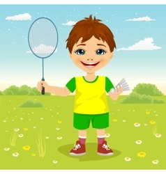 Young boy with badminton racket and shuttlecocks vector image