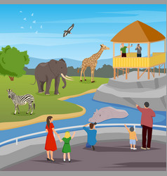 zoo flat cartoon composition vector image