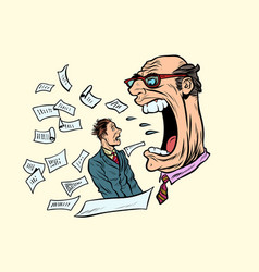 boss yells at a subordinate work and business vector image