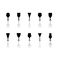 glasses icon set with reflection silhouette vector image vector image