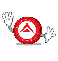 waving ark coin character cartoon vector image vector image
