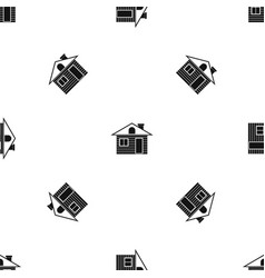 wooden log house pattern seamless black vector image vector image
