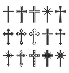 christian cross icons set on white background vector image vector image