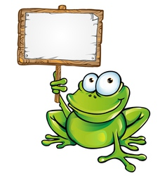 Frog prince with signboard vector
