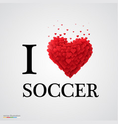 i love soccer heart sign vector image vector image