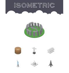 isometric architecture set of england india vector image