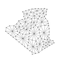 Algeria map of polygonal mosaic lines network ray vector