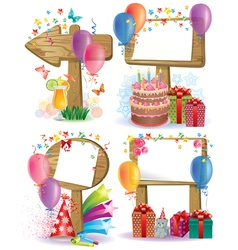 Birthday wooden sign vector image